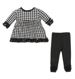 Kickee Pants Long Sleeve Babydoll Outfit Set Zebra Houndstooth