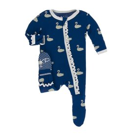 Kickee Pants Print Classic Ruffle Footie with Zipper Navy Queen's Swans