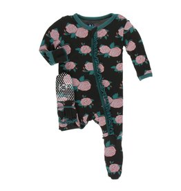 Kickee Pants Print Classic Ruffle Footie with Zipper English Rose Garden
