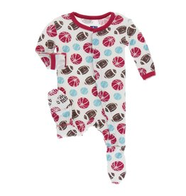 Kickee Pants Kickee Pants Footie with Snaps: Natural Sports Preemie