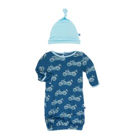 Kickee Pants Kickee Pants Layette Gown & Single Knot Hat Set: Heritage Blue Motorcycle Preemie