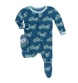 Kickee Pants Kickee Pants Footie with Snaps: Heritage Blue Motorcycle Preemie