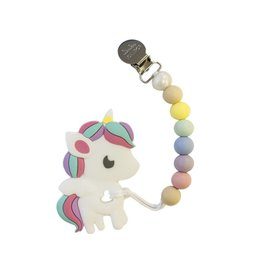 Lou Lou Lollipop Silicone Teether Set - Rainbow Unicorn - Cotton Candy