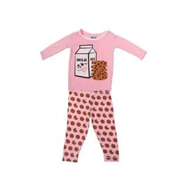 Kickee Pants Print Long Sleeve Pajama Set Lotus Cookies 3T