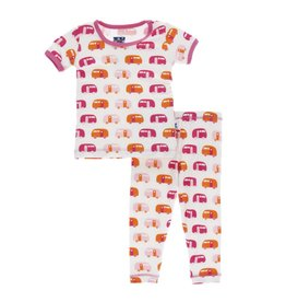 Kickee Pants Print Short Sleeve Pajama Set - Natural Camper  5T