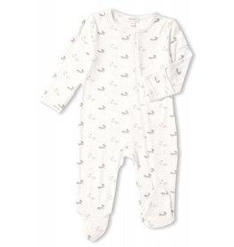 Angel Dear Bamboo Zipper Footie - Grey Baby Fox