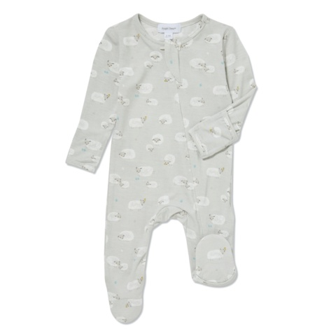 Angel Dear Bamboo Zipper Footie - Grey Sheep