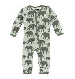 Kickee Pants Print Coverall with Zipper - Aloe Elephants 18-24M