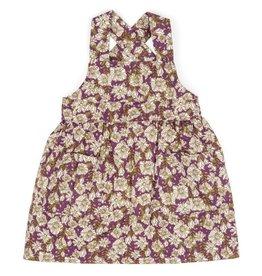 Milkbarn Kids Organic Linen/Cotton Pinafore Apron - Purple Floral 4/5T