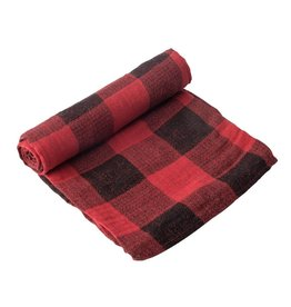 Little Unicorn Cotton Muslin Swaddle - Holiday Haul - Red Plaid
