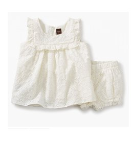 Tea Collection Eyelet Baby Outfit - Chalk 3-6M
