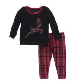 Kickee Pants Kickee Pants Long Sleeve Pajama Set: Christmas Plaid