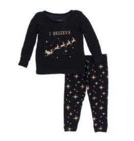 Kickee Pants Kickee Pants Long Sleeve Pajama Set: Rose Gold Bright Stars