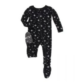 Kickee Pants Holiday Footie with Zipper: Silver Bright Stars