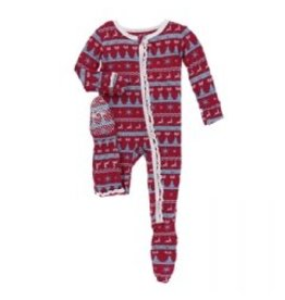 Kickee Pants Holiday Ruffle Footie with Zipper: Nordic Print