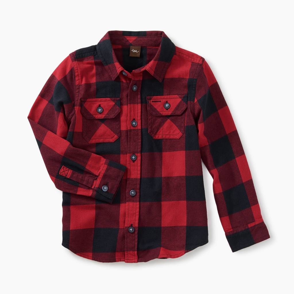 Tea Collection Flannel Shirt - Red and Black Buffalo Plaid
