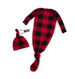 Milk Snob Knotted Hat + Gown Set - Lumberjack 0-3M | Kicks and Giggles, Rapid City Baby Store