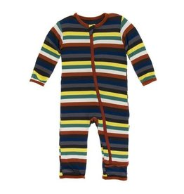 Kickee Pants Print Coverall with Snaps Dark London Stripe 6-9M