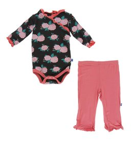 Kickee Pants Long Sleeve Kimono Ruffle One Piece & Ruffle Pant Set English Rose Garden 0-3M