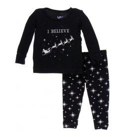 Kickee Pants Kickee Pants Long Sleeve Pajama Set: Silver Bright Stars