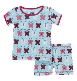 Kickee Pants Print Short Sleeve & Shorts Pajama Set - Tallulah's Butterfly 4T