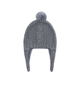Angel Dear Cable Knit Pilot Hat Heather Gray