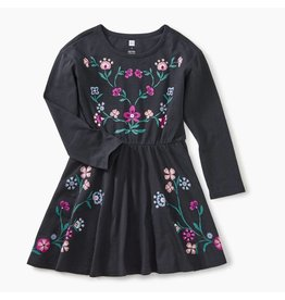 Tea Collection Nordic Floral Skater Dress - Jet Black