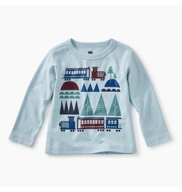 Tea Collection Train Trek Graphic Tee - Sterling Blue