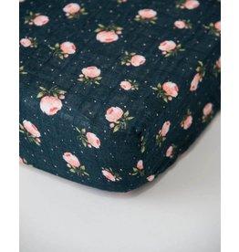 Little Unicorn Cotton Muslin Crib Sheet - Midnight Rose