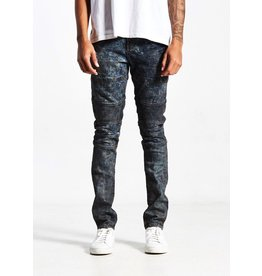 EMBELLISH COOPER BIKER IN DIRT-EFFECT ACID WASH