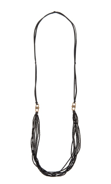 Cynthia Dugan 7 Strand Crystal with Leather Back, Black
