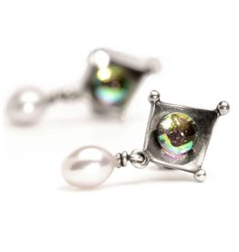 Dichroic Pearl Earrings TAGEA-00054