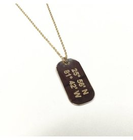 Lat Lo Mini Dog Tag 14K GF