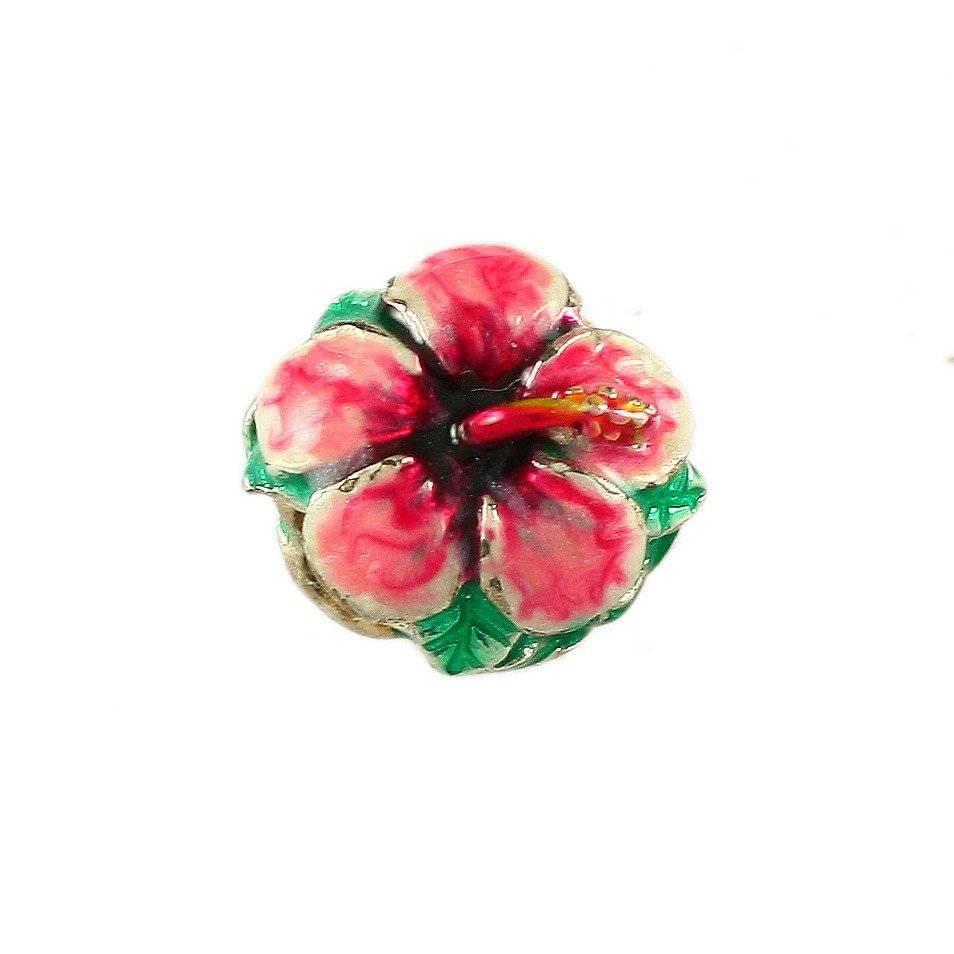 Hibiscus Pink Enamel SS Bead