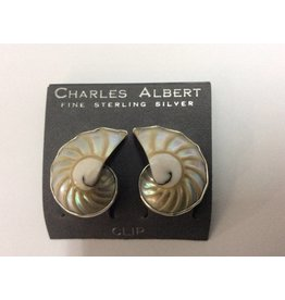 Nautilus Shell Clip On Earrings