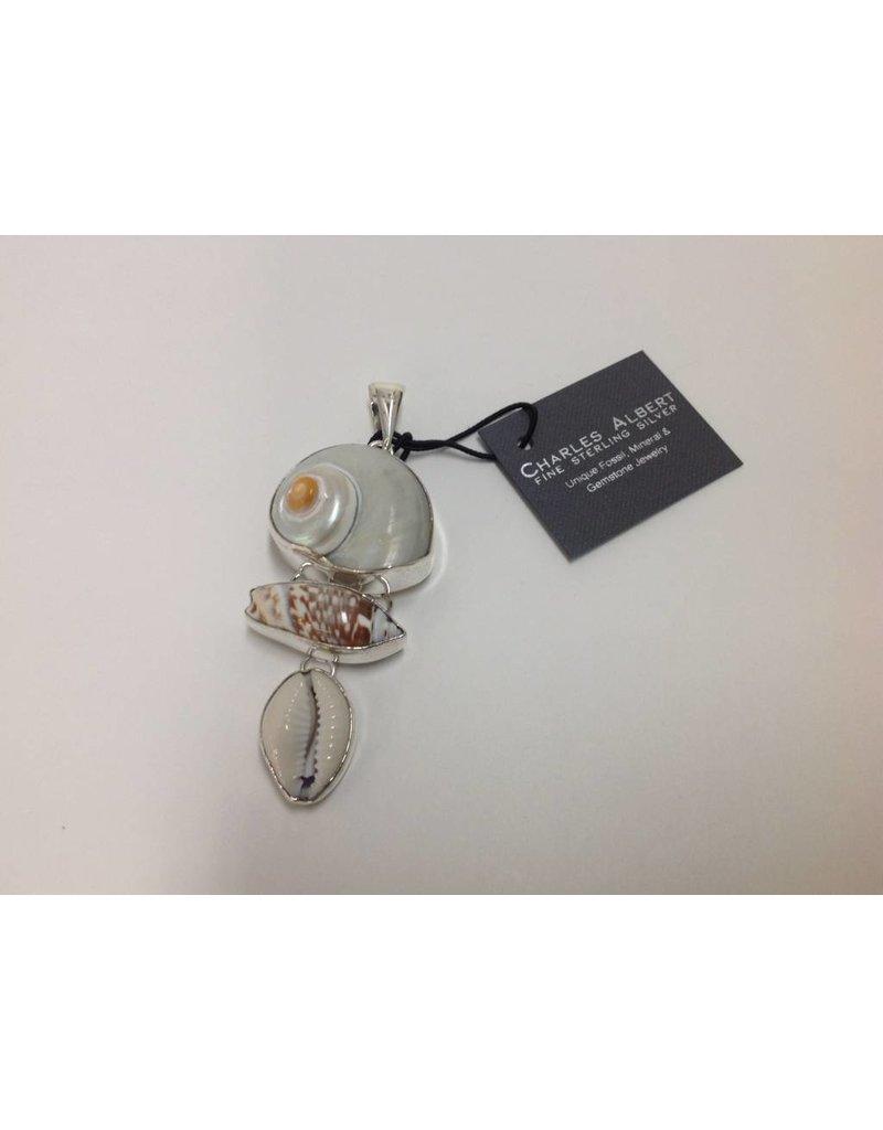 Cinnerus, Olive & Cowry Shell Pendant