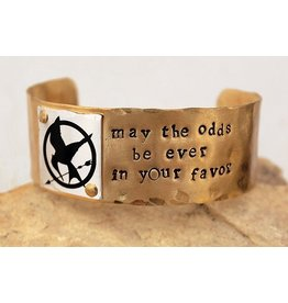 """Hunger Games """"Mockingjay"""" Brass Cuff (may the odds)"""