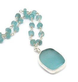 Authentic Sea Glass, Chalcedony Necklace SS
