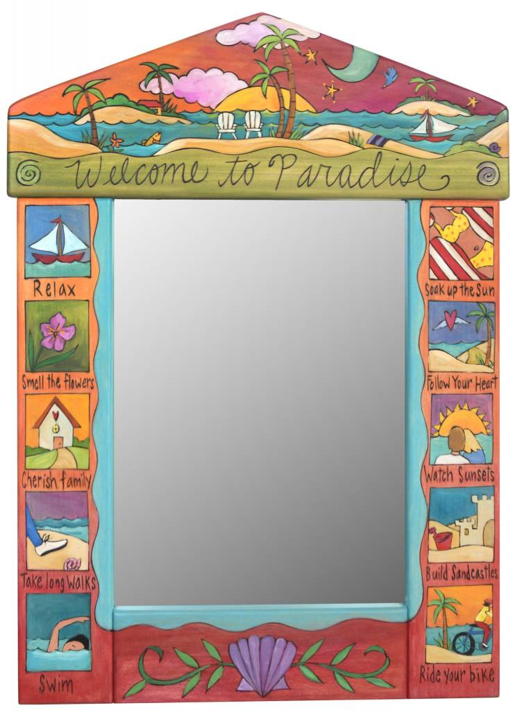 "Mirror Welcome to Paradise  (24""x33)"