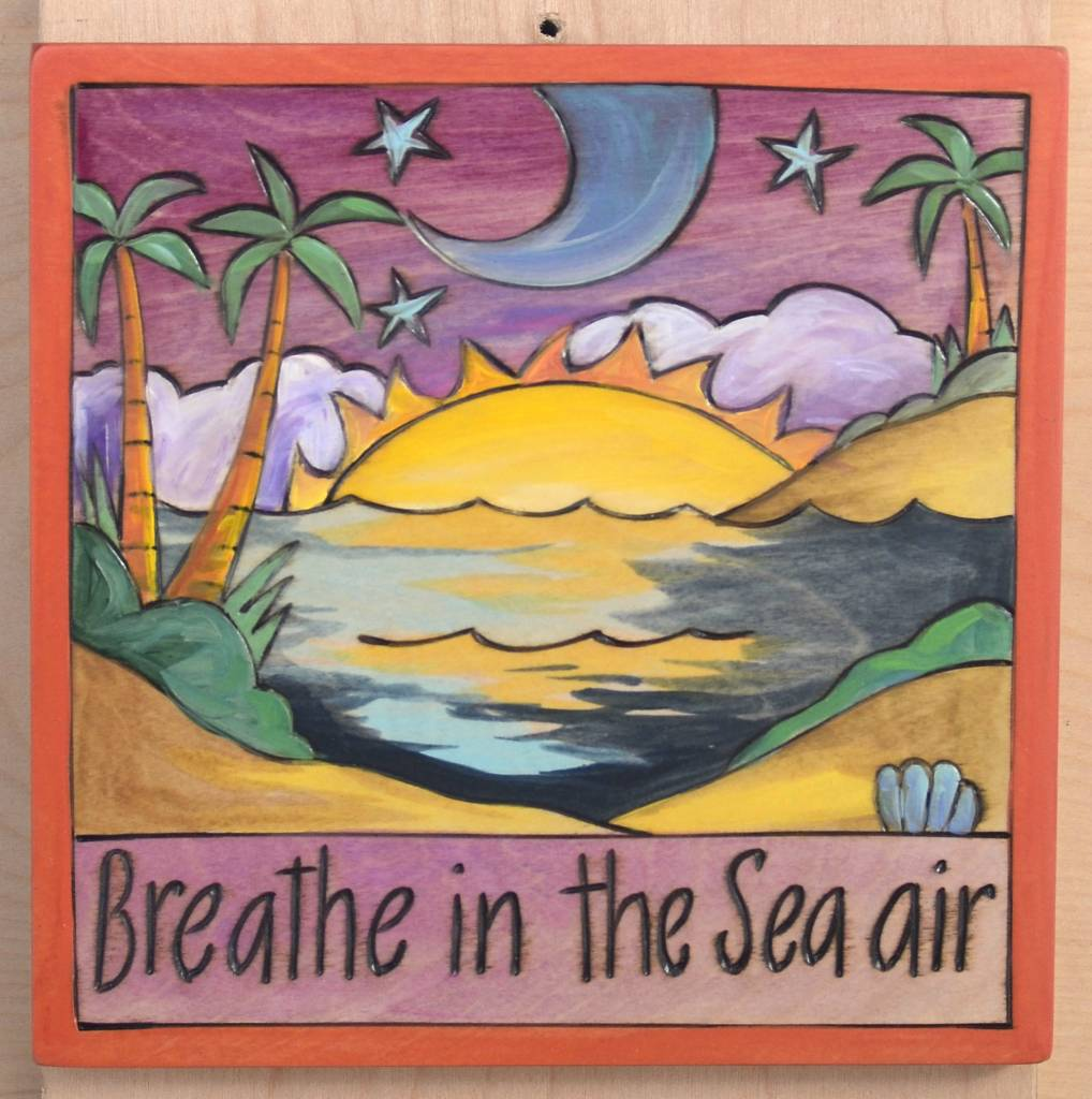 'Breathe in the Sea Air' Art Plaque 7x7""