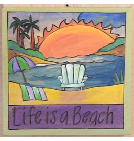 'Life is a Beach' Art Plaque 7x7""