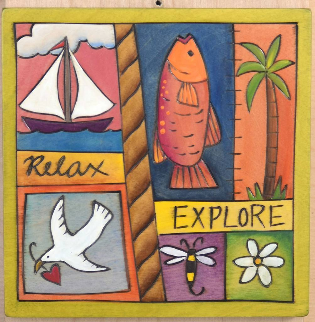 "'Relax Explore' Art Plaque 7x7"""