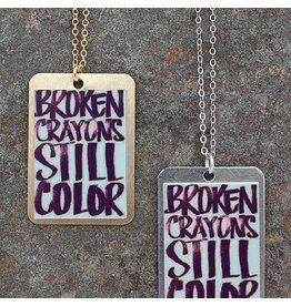 Broken Crayons... Dog Tag Necklace Brass