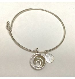 Wave Bangle Sterling Silver w/ Marco Island Sand