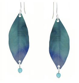 Deep Blue Leaf Earrings Small