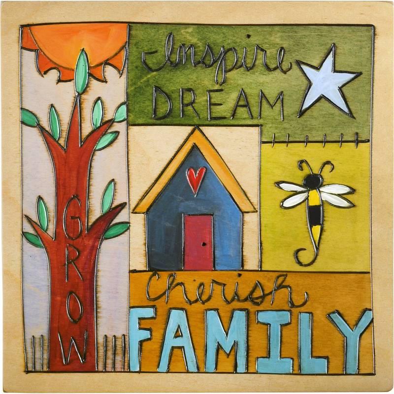 'Cherish Family'Art Plaque 7x7''