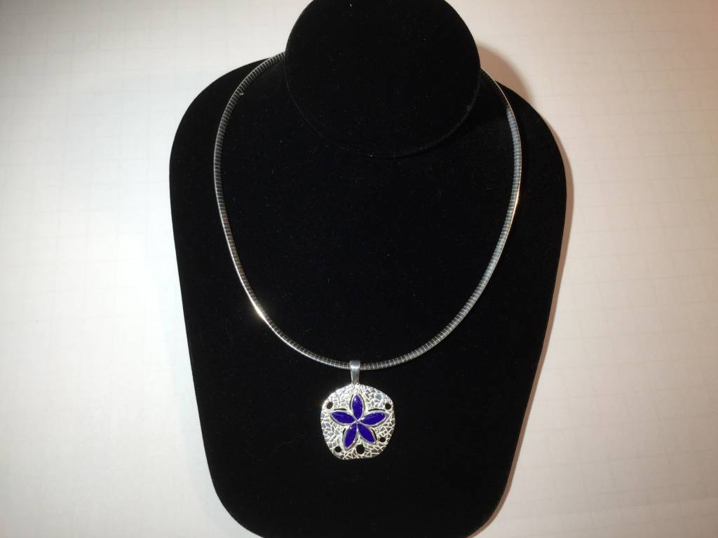 "Lapis Natural Sand Dollar Necklace 18"" Omega Chain"