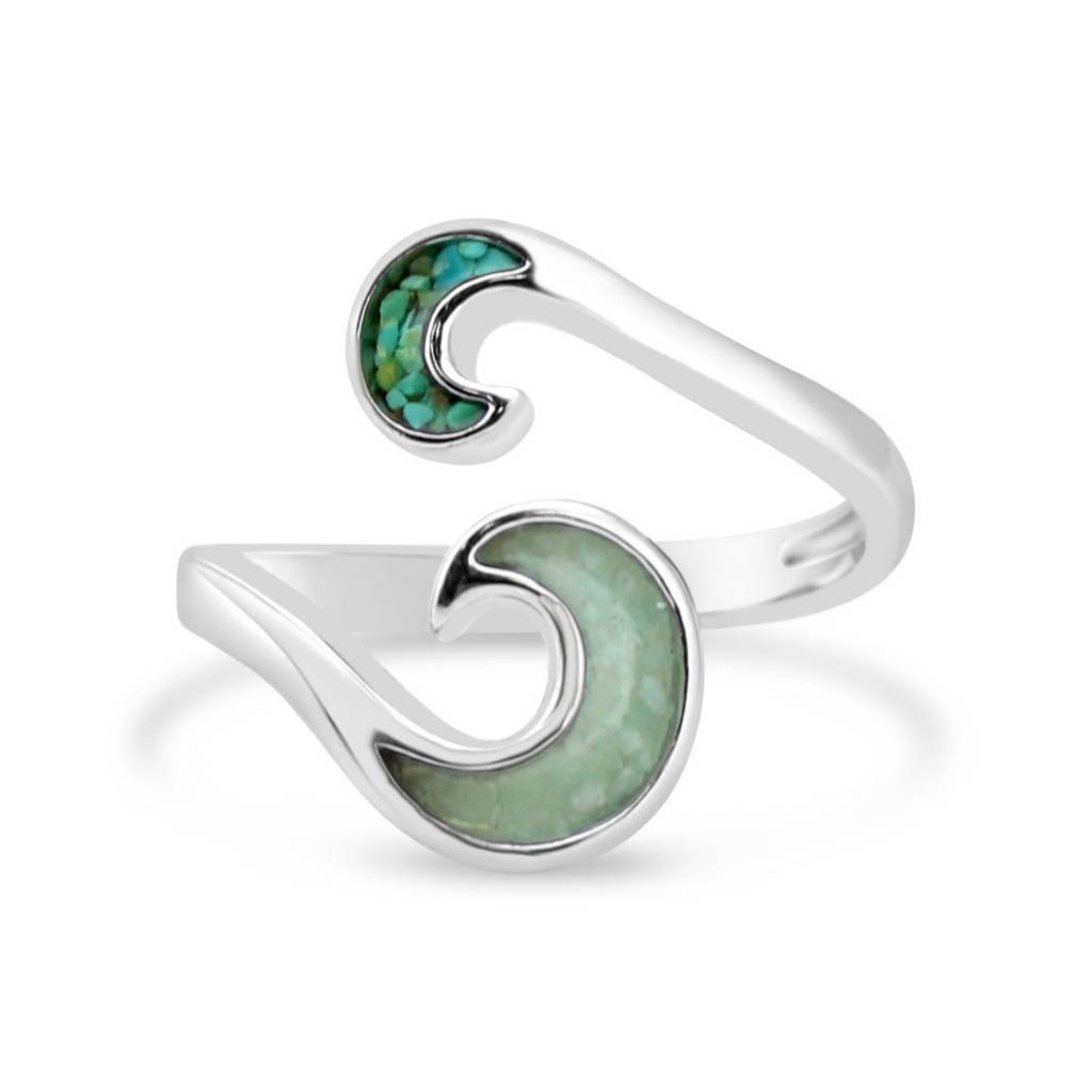 Turquoise/Amazonite Wave Bypass Ring SS
