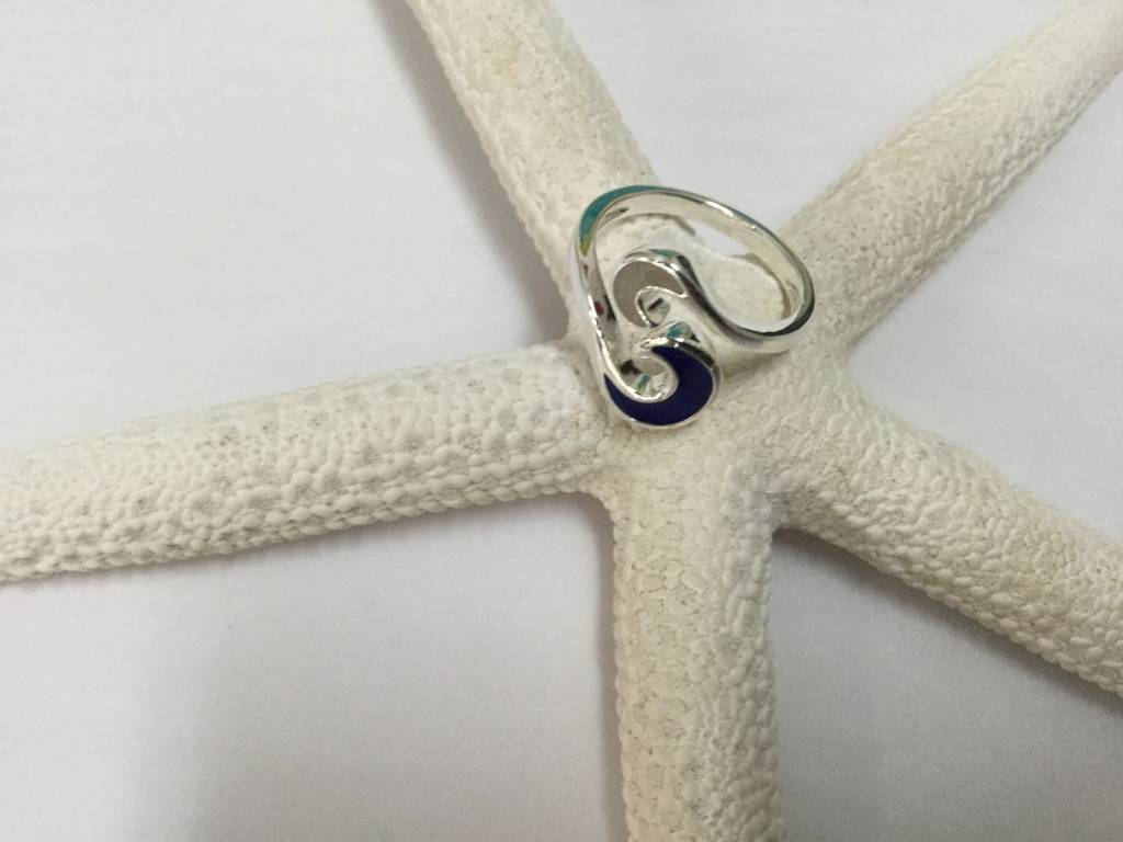 Marco Island Sand/Lapis Wave Bypass Ring SS