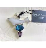 Jade Dolphin, Blue Topaz & Amethyst Pendant, Sterling Silver